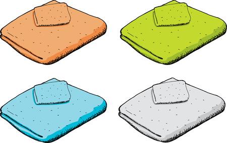 Cartoon towel and washcloth set over isolated background Illustration