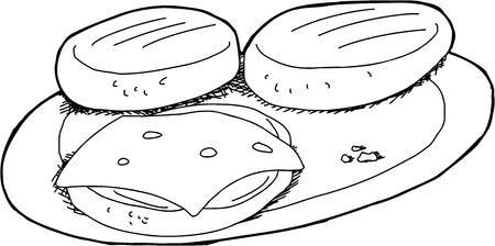 Black outline bbq hamburgers and cheese on plate Vector