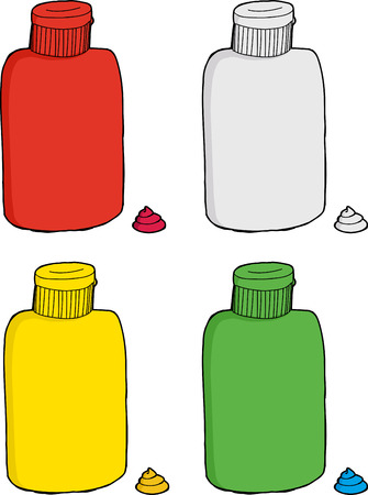 Series of various plastic bottles over isolated background