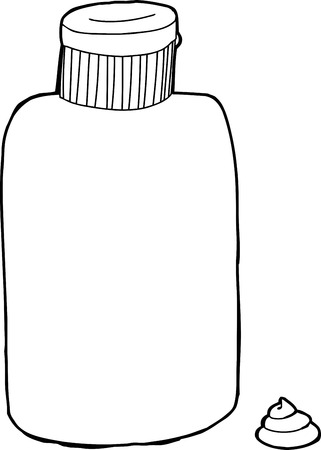 Black outline lotion bottle with cream over white
