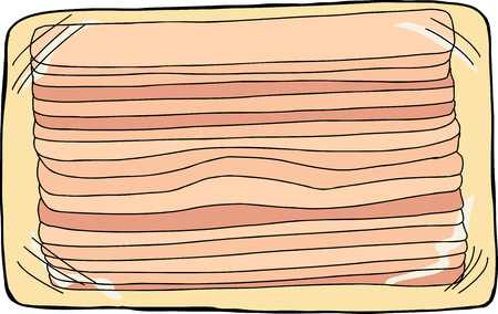 bacon strips: Cartoon bacon strips package over isolated background Illustration