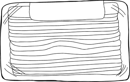 Black outline of bacon strips package on white Illustration