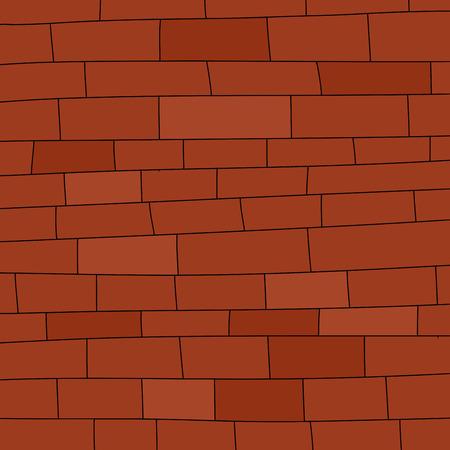 hand drawn cartoon: Blank mano pared de ladrillo rojo de fondo de dibujos animados dibujado Vectores