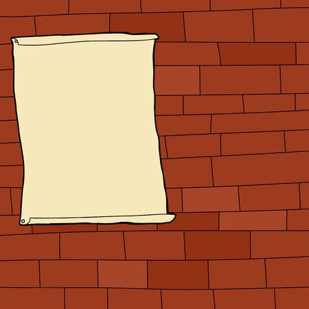 blank poster: Single blank poster on cartoon brick wall background