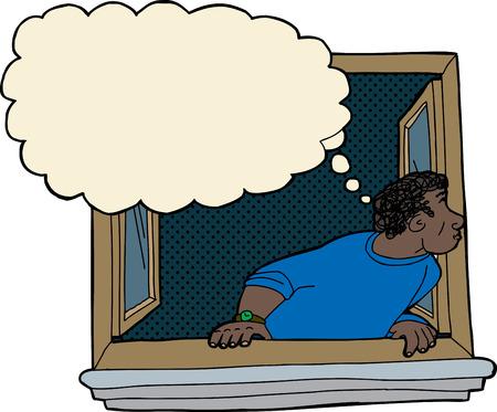 창문을 바라 보는 생각 거품을 가진 호기심 흑인 남자