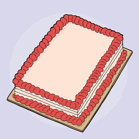 Hand drawn fancy strawberry sheet cake cartoon