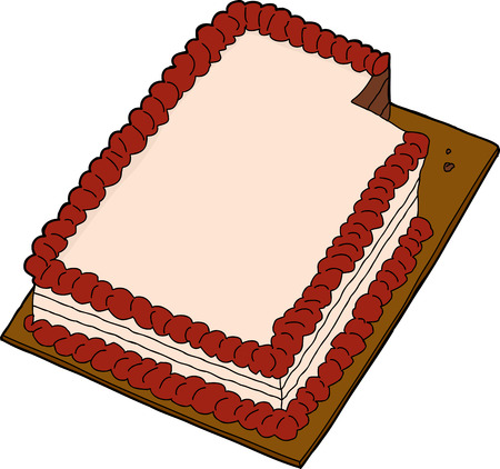 Hand drawn fancy sheet cake with missing slice Vettoriali
