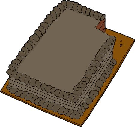 indulgência: Decorado bolo de folha de chocolate com fatia faltante Ilustração