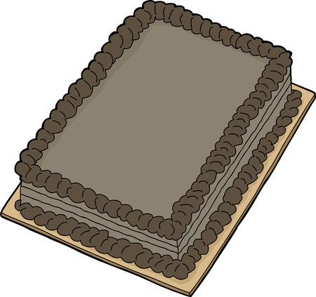 Isolated double chocolate fancy sheet cake cartoon Illustration