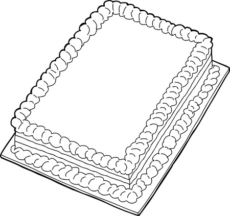 white sheet: Fancy sheet cake with copy space in black outline