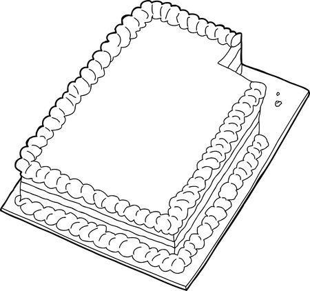 indulgence: Fancy sheet cake with missing slice in black outline