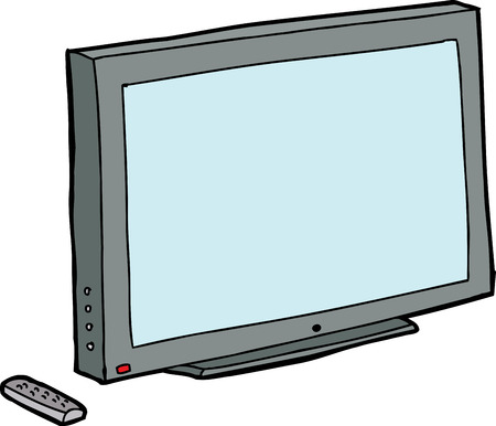 fernsteuerung: Isoliert Cartoon-TV mit Fernbedienung �ber wei�e Illustration