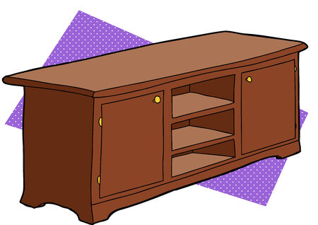 Single wooden entertainment console with empty shelves