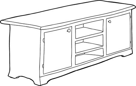 Hand drawn black outline cabinet with empty shelves Ilustração