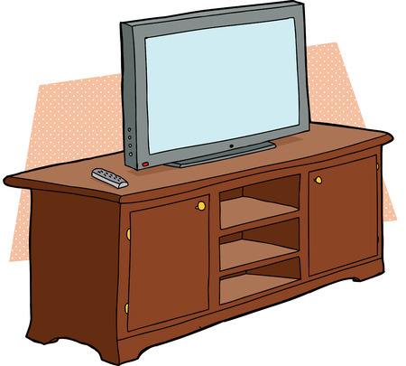 Single cartoon TV with remote control on cabinet Vector