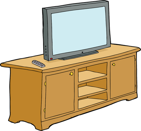 Isolated cabinet with television and remote control Illustration