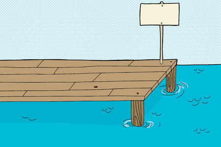 ledge: Single cartoon fishing pier with blank sign