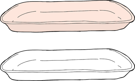 ピンクと白の 1 つの漫画分離トレイ