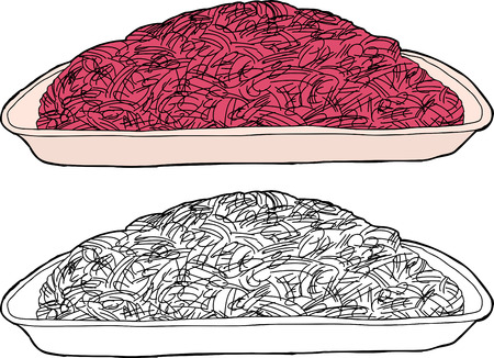 ground beef: Tray of ground beef in color and black outline