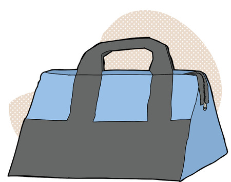 storage: Hand drawn blue and gray storage bag