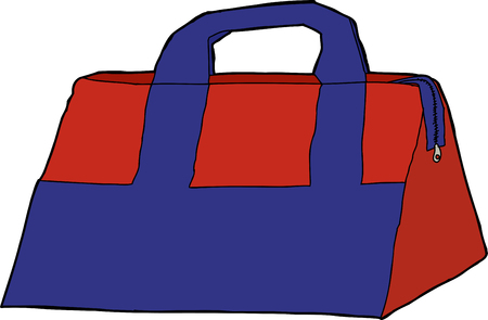 Single blue and red storage bag over white