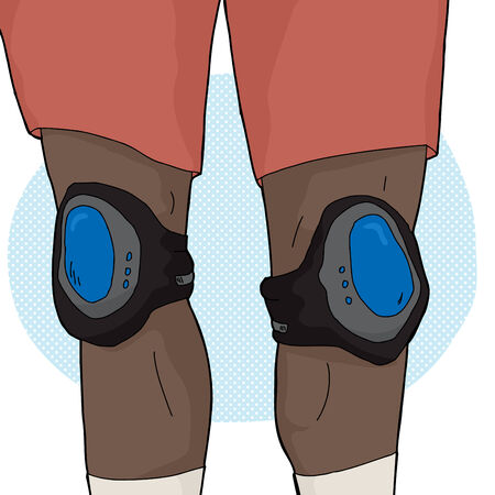 Close up of skater legs with knee pads Illustration