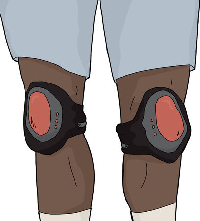 Man in shorts wearing knee pads over white Illustration