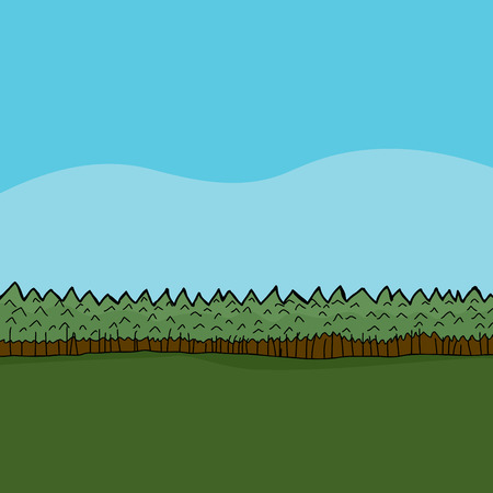 Hand drawn cartoon forest background with green pasture Illustration