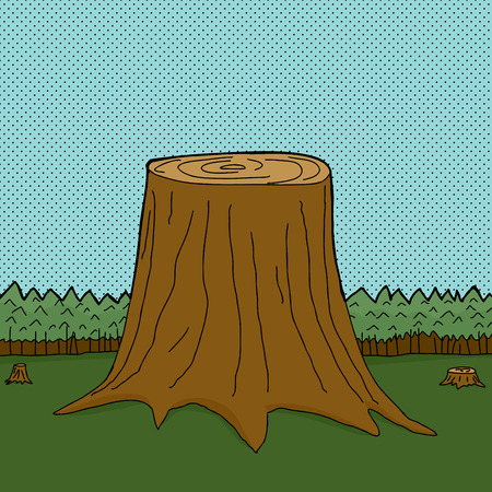 Three cut tree trunks in forest with halftone background Illustration