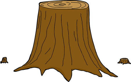 sliced tree: Three isolated cut cartoon tree trunks over white Illustration