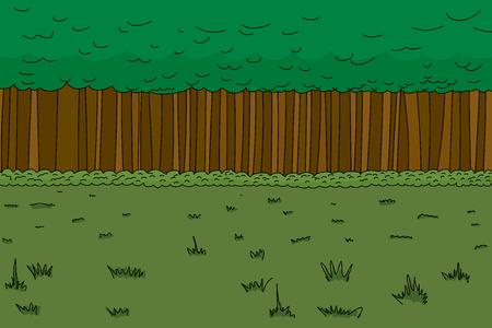 Background cartoon of dense hand drawn forest Ilustracja