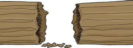hollow: Isolated hand drawn hollow log over white background Illustration