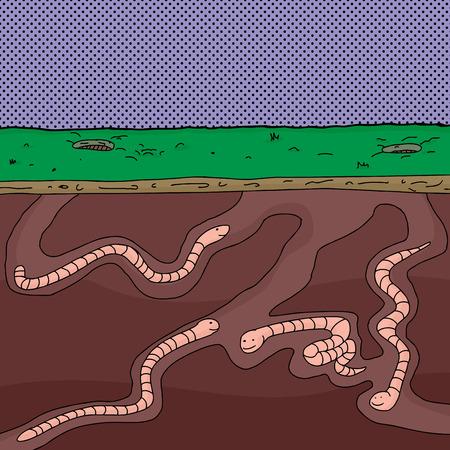Four cartoon worms digging underground through tunnels Illustration