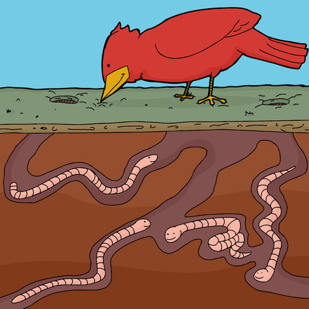 Happy red bird pecking ground with tunnelling earthworms Illustration