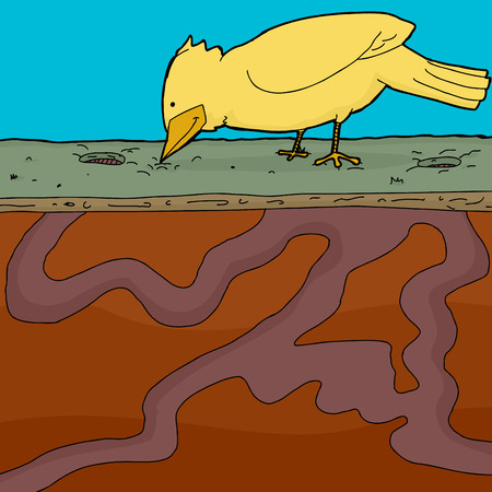 holes: Yellow bird pecking ground with holes and tunnels