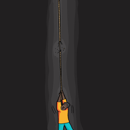 uncomfortable: Single Black man holding on to frayed rope in pit Illustration