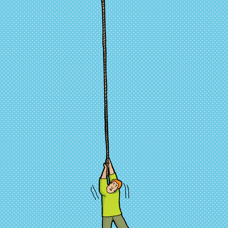 Helpless single person holding on to a rope
