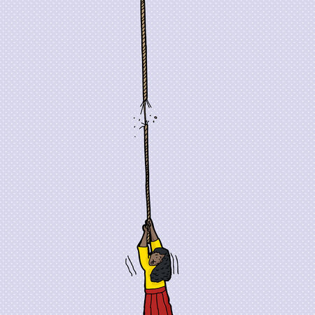 frayed: Woman holding on to end of frayed rope Illustration