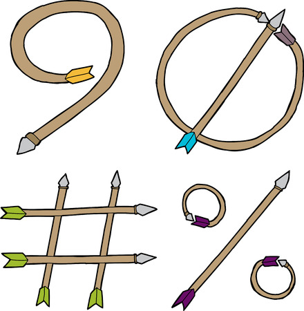 Arrow shaped number nine, zero, pound sign and percentage symbol Vector
