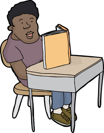 Happy young male student reading book at desk Vector