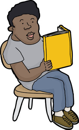 Happy young person reading blank book in chair