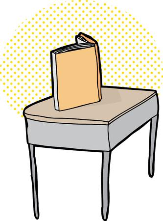 Single blank book on desk over white background