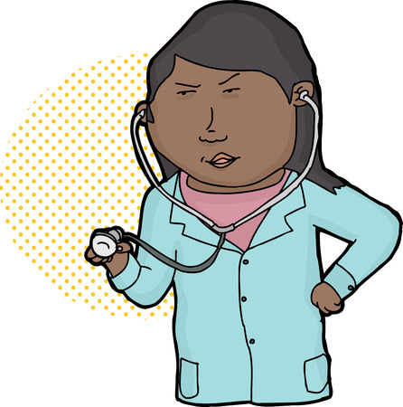 latina: Serious Hispanic female doctor holding stethoscope