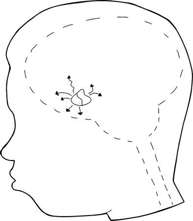 hipofisis: Contorno de una cabeza humana con la gl�ndula pituitaria