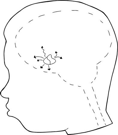pituitary gland: Outline of human head with pituitary gland Illustration