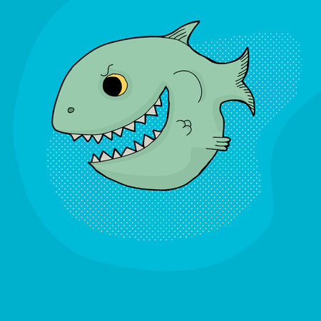 big mouth: Happy grinning cartoon fish with big mouth and teeth Illustration