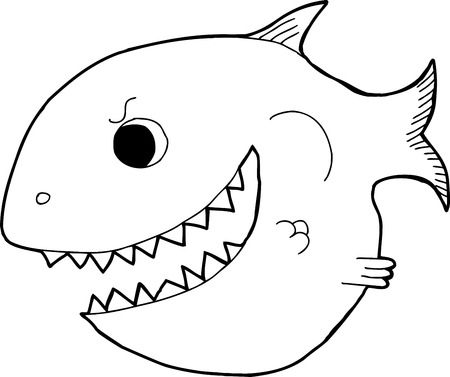 intimidating: Black outline smiling cartoon fish with big teeth