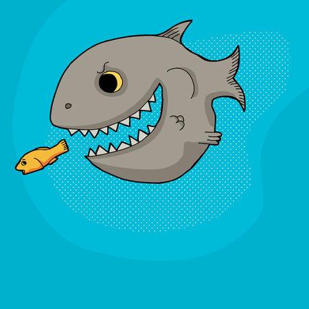 Big gray smiling cartoon fish chasing little goldfish