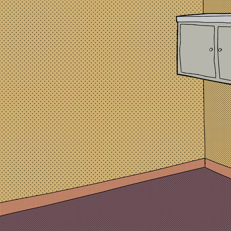 Cabinet on wall in room with halftone walls