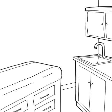 Empty hand drawn cartoon examination room outline